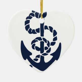 Ornement Cœur En Céramique Motif nautique d'ancre de marine