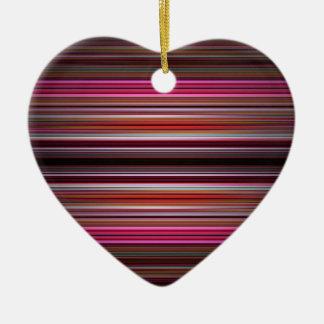 Ornement Cœur En Céramique Motif rose de rayures