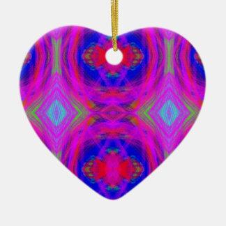 Ornement Cœur En Céramique Motif tribal au néon chic Girly lumineux