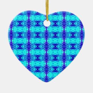 Ornement Cœur En Céramique Motif tribal bleu au néon coloré de bleu royal