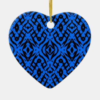 Ornement Cœur En Céramique Motif tribal bleu de formes