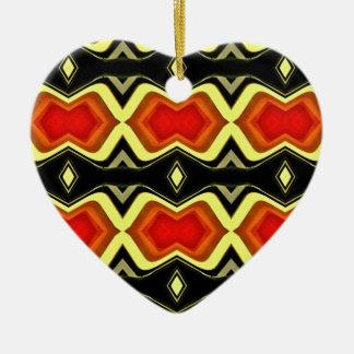 Ornement Cœur En Céramique Motif tribal d'automne de noir de jaune orange