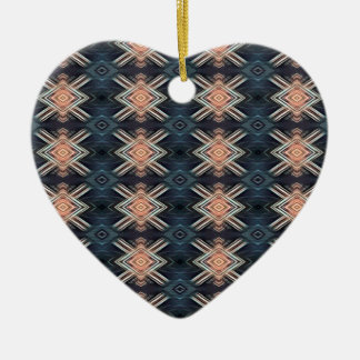 Ornement Cœur En Céramique Motif tribal de charbon de bois de pêche masculine
