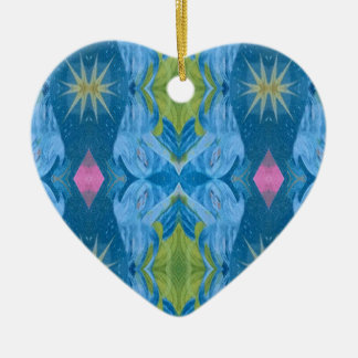 Ornement Cœur En Céramique Motif tribal de Starburst de chaux bleue