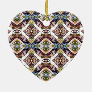 Ornement Cœur En Céramique Motif tribal en pastel chaud