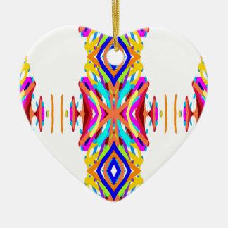 Ornement Cœur En Céramique Motif tribal moderne chic coloré