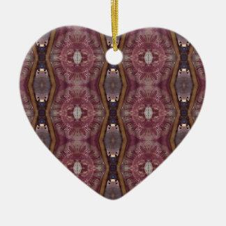 Ornement Cœur En Céramique Motif tribal moderne de rose chic de Bourgogne