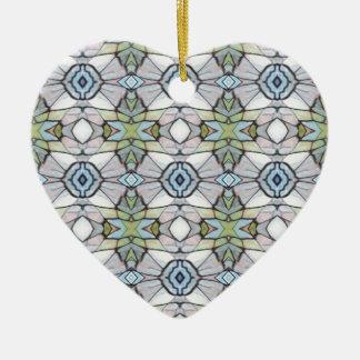Ornement Cœur En Céramique Motif tribal moderne gris de vert bleu