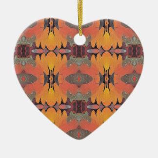 Ornement Cœur En Céramique Motif tribal orange de pêche