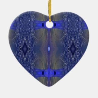 Ornement Cœur En Céramique Motif tribal populaire de bleu royal