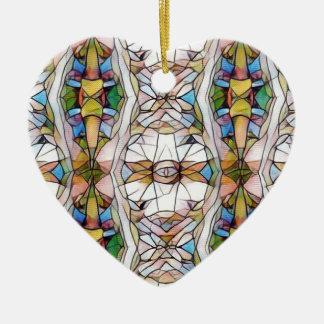 Ornement Cœur En Céramique Motif tribal rare coloré en verre souillé