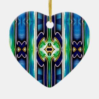 Ornement Cœur En Céramique Motif tribal unique lumineux