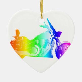 Ornement Cœur En Céramique Moto #2 d'arc-en-ciel