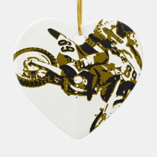 Ornement Cœur En Céramique moto cross