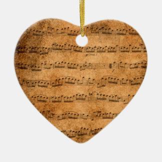 Ornement Cœur En Céramique Musique de feuille vintage