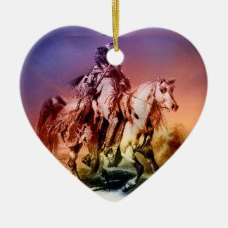 Ornement Cœur En Céramique Natif américain