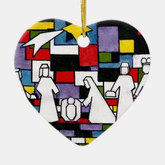 Ornement Cœur En Céramique Nativité de Mondrian - de Stijl - Neoplasticism