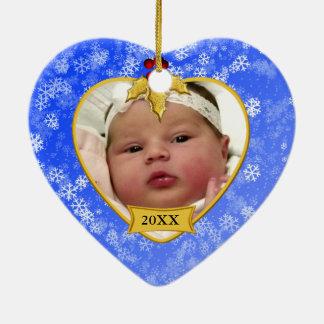 Ornement Cœur En Céramique Noël bleu de Milou d'or de souvenir de la photo du