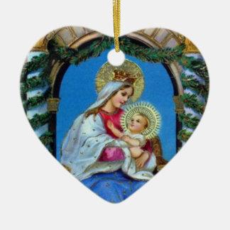 Ornement Cœur En Céramique Noël - mère Mary et Jésus
