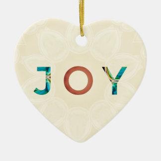 Ornement Cœur En Céramique Noël moderne 'Joy d'arrière - plan crème