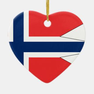Ornement Cœur En Céramique Norvège-Drapeau #2