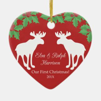 Ornement Cœur En Céramique Notre premier Noël - coeur décoratif en céramique