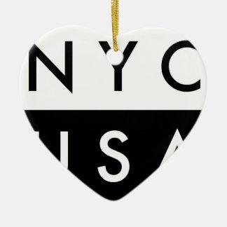 ORNEMENT CŒUR EN CÉRAMIQUE NYC ETATS-UNIS
