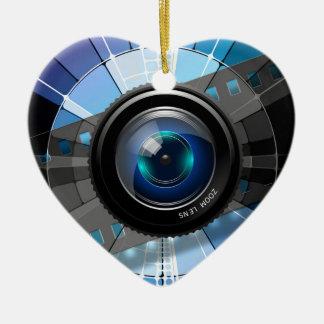 Ornement Cœur En Céramique Objectif de caméra