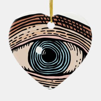 Ornement Cœur En Céramique Oeil de Providence (transparent)
