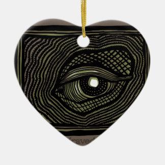 Ornement Cœur En Céramique Oeil gravé