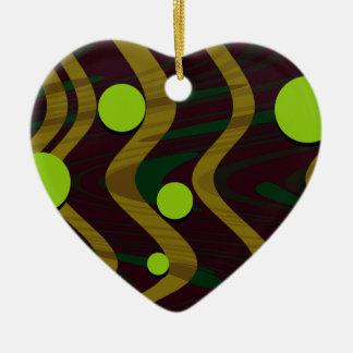 Ornement Cœur En Céramique Or vert marbré de vague de point