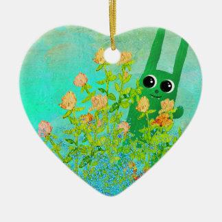 Ornement Cœur En Céramique ornamen verts de lapin