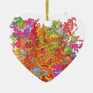 Ornement Cœur En Céramique Paix, amour, bonheur et une fée