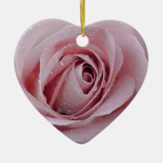 Ornement Cœur En Céramique pâlissez - le rose de rose