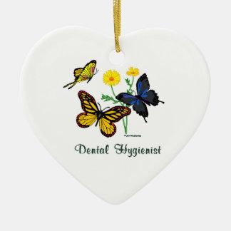 Ornement Cœur En Céramique Papillons d'hygiéniste dentaire