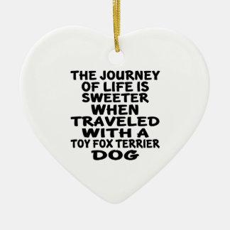 Ornement Cœur En Céramique Parcouru avec un associé de la vie de Fox Terrier
