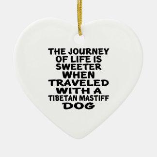 Ornement Cœur En Céramique Parcouru avec un associé tibétain de MastiffLife