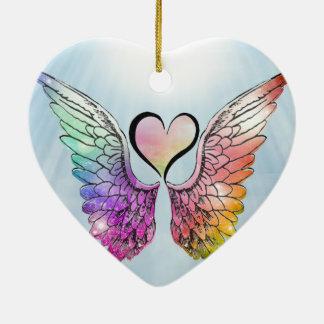 Ornement Cœur En Céramique Part - ailes et coeur d'ange
