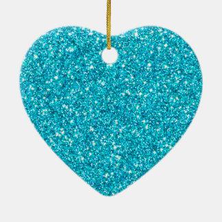 Ornement Cœur En Céramique parties scintillantes bleues
