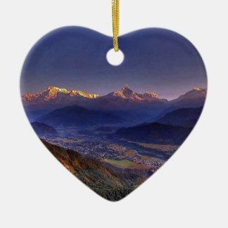 Ornement Cœur En Céramique Paysage de vue : L'HIMALAYA POKHARA NÉPAL