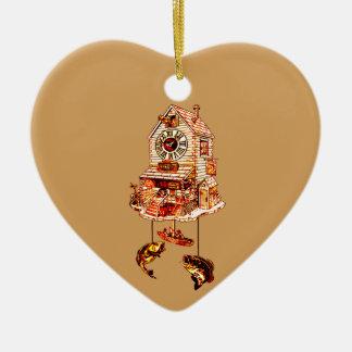 Ornement Cœur En Céramique Pêche de l'horloge de coucou de loge
