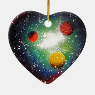 Ornement Cœur En Céramique Peinture de galaxie de l'espace d'art de peinture