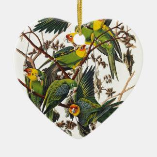 Ornement Cœur En Céramique Perroquet de la Caroline - John James Audubon