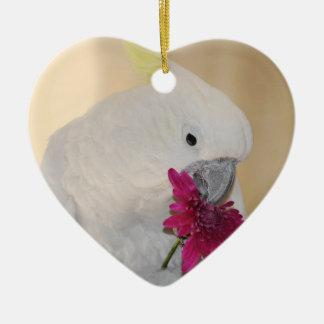 Ornement Cœur En Céramique Perroquet il m'aime ou pas