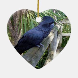 Ornement Cœur En Céramique Perroquet noir australien,