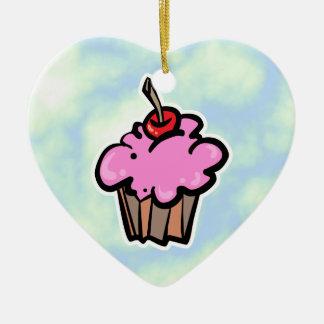 Ornement Cœur En Céramique Petit gâteau rose avec la cerise