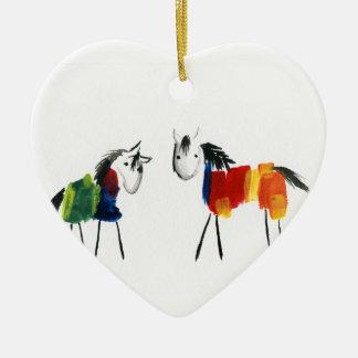 Ornement Cœur En Céramique Peu de poneys d'arc-en-ciel
