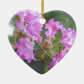 Ornement Cœur En Céramique Peu un rose