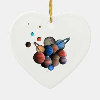 Ornement Cœur En Céramique Planètes