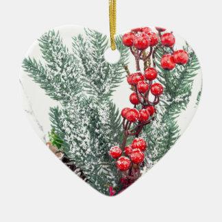 Ornement Cœur En Céramique Plat de Noël avec la décoration de champignons de